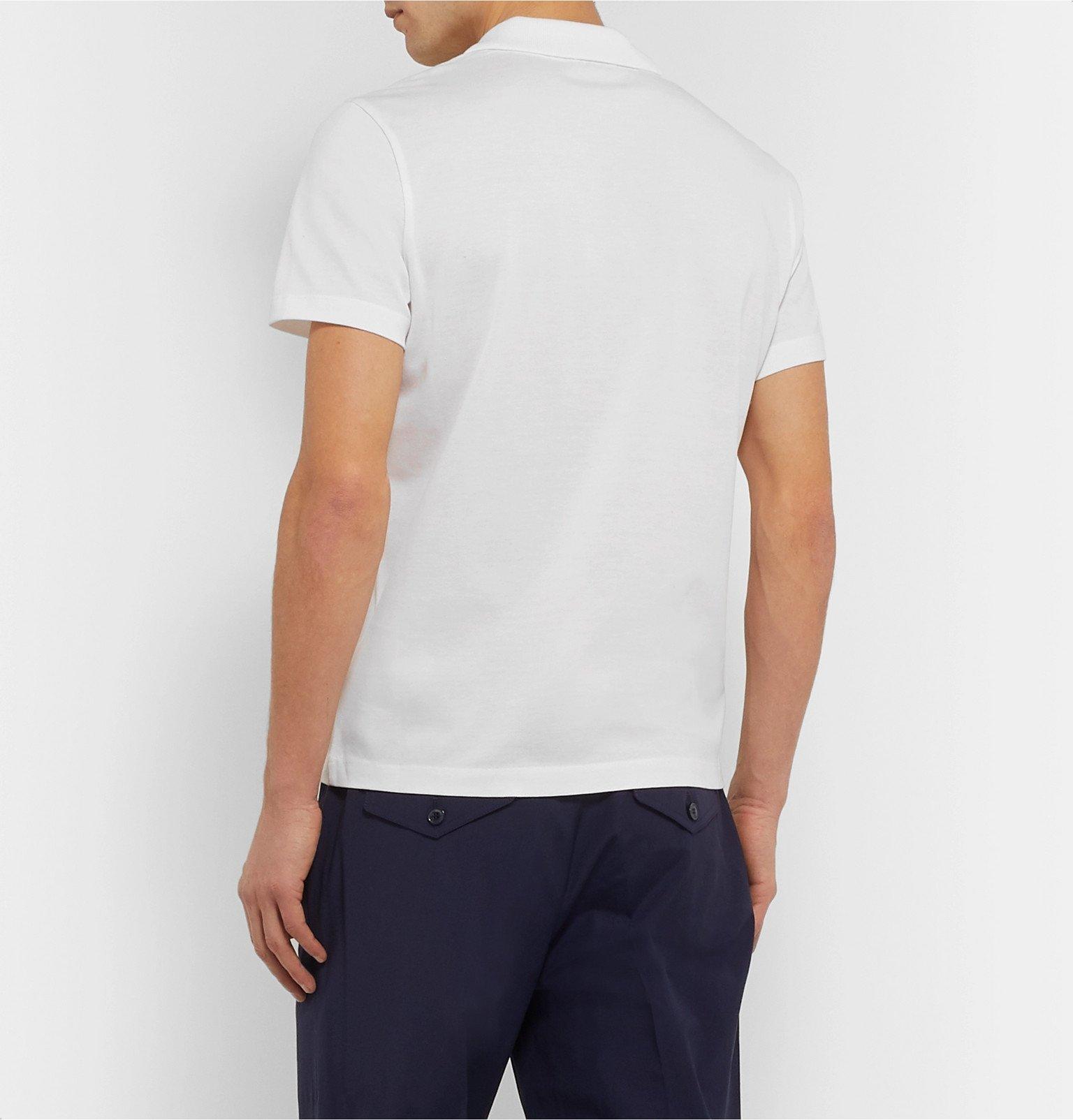 Moncler - Cotton-Piqué Polo Shirt - White