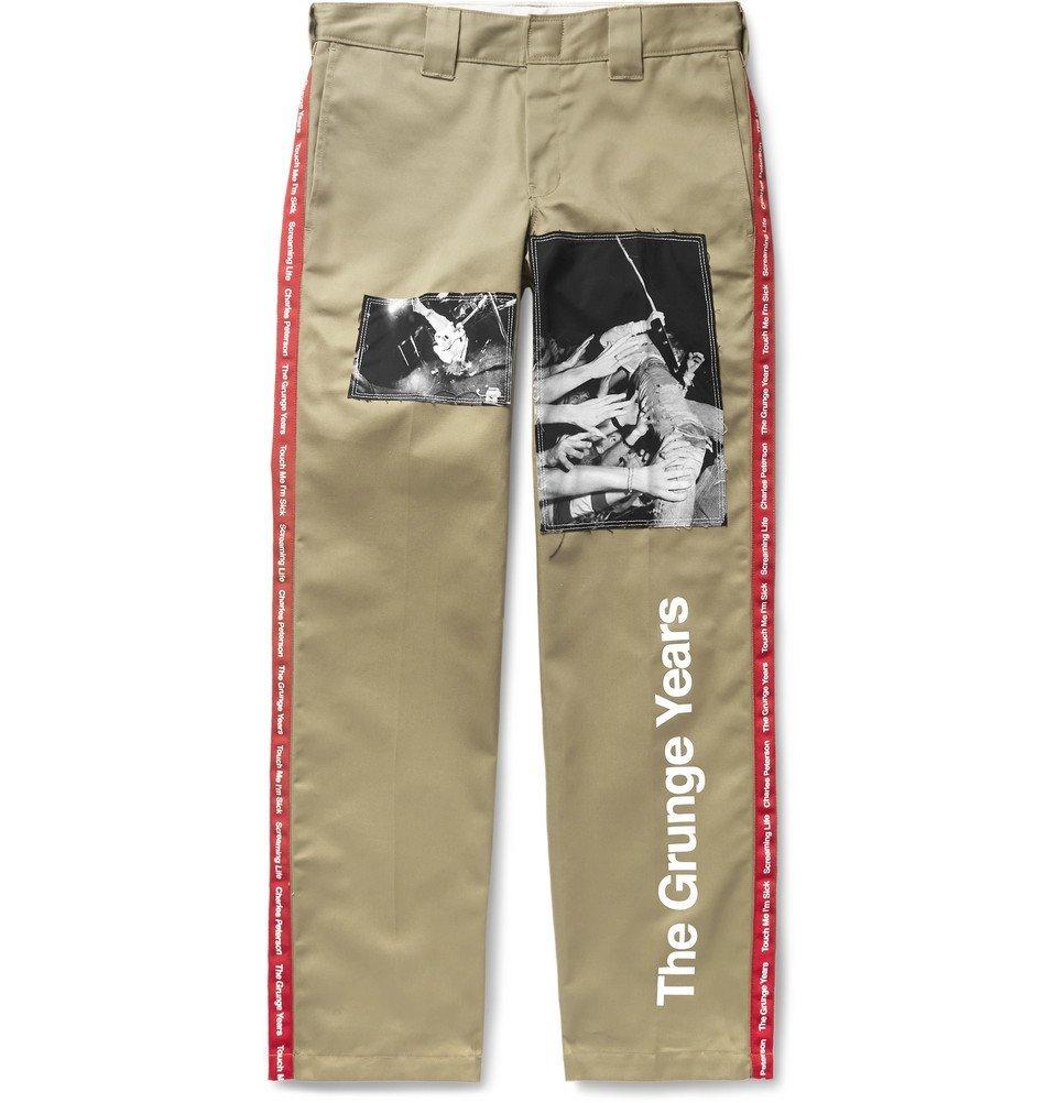 Photo: TAKAHIROMIYASHITA TheSoloist. - Dickies Grosgrain-Trimmed Appliquéd Printed Twill Trousers - Beige