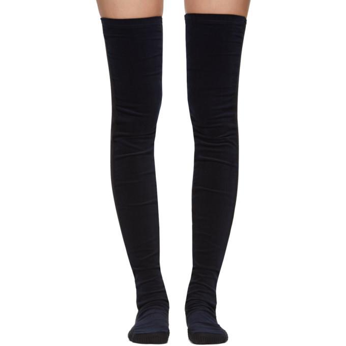 Sacai SSENSE Exclusive Navy Velvet Thigh-High Socks