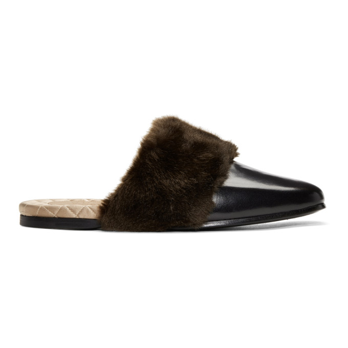 Photo: Gucci Black Faux-Fur Lawrence Loafers