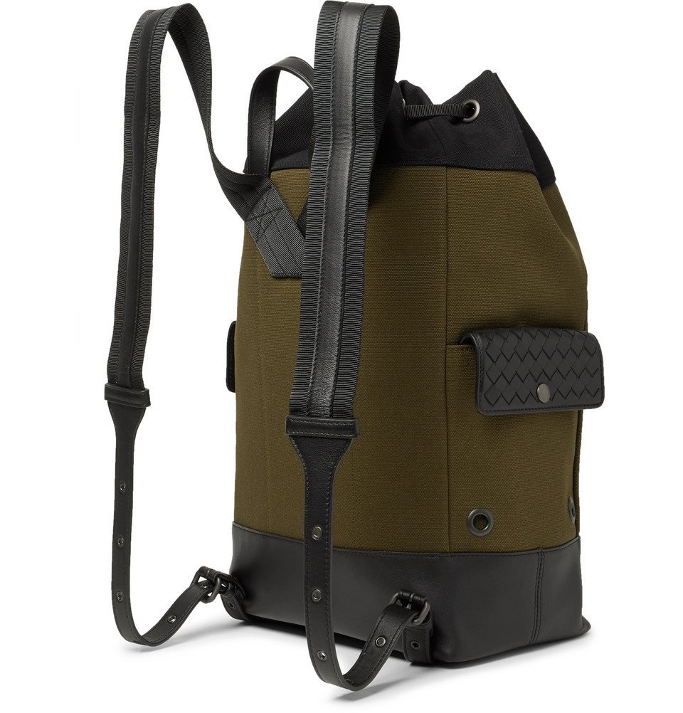 Bottega Veneta - Intrecciato Leather-Trimmed Striped Canvas Backpack - Men - Army green