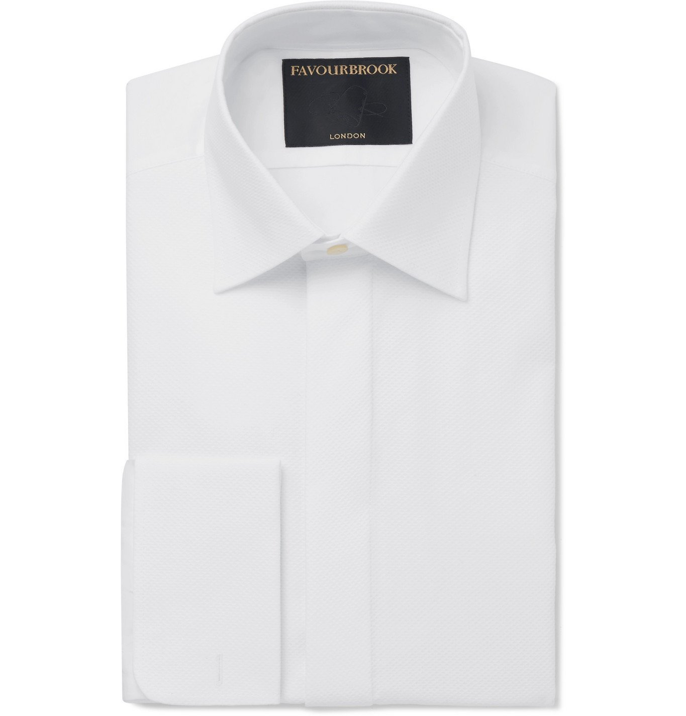 Photo: Favourbrook - White Bib-Front Double-Cuff Cotton-Poplin Tuxedo Shirt - White