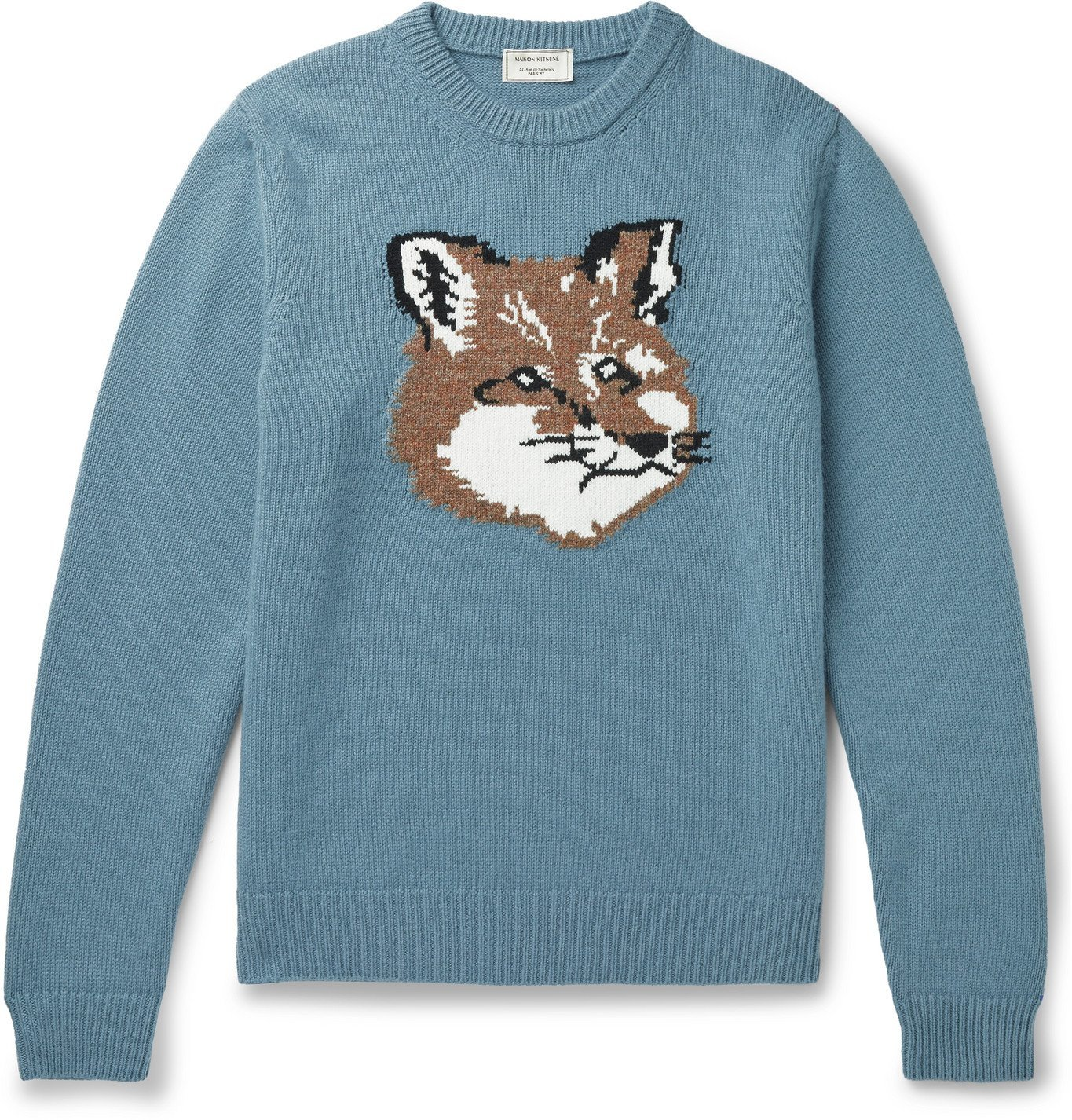 Photo: Maison Kitsuné - Logo-Intarsia Wool Sweater - Blue