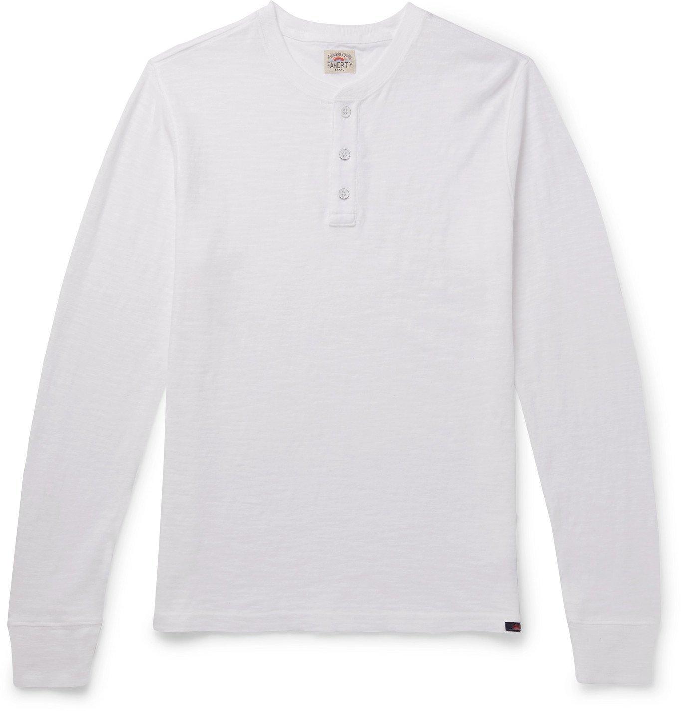 Photo: Faherty - Slub Cotton-Jersey Henley T-Shirt - White