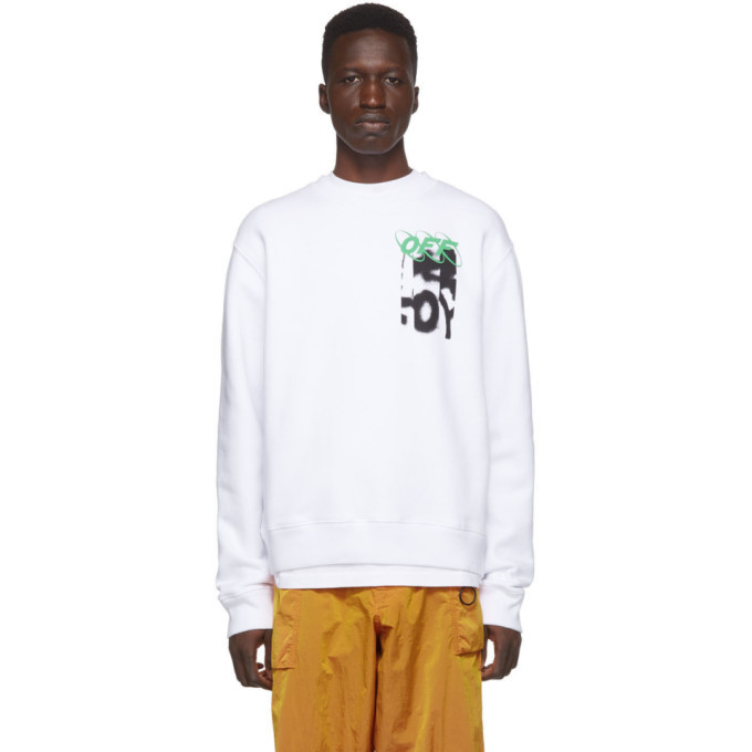 Photo: Off-White White Spray Blurred Slim Sweatshirt