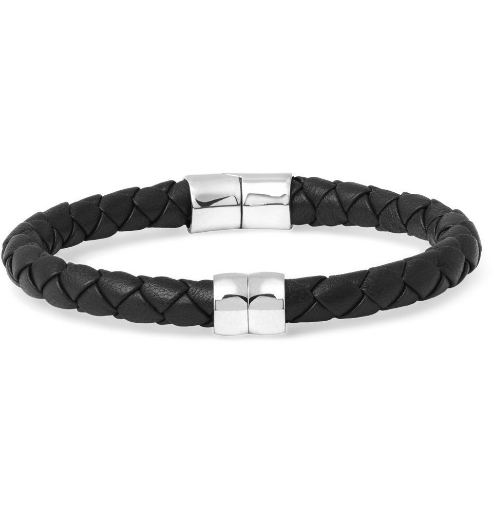 Bottega Veneta - Intrecciato Leather and Silver Bracelet - Men - Black