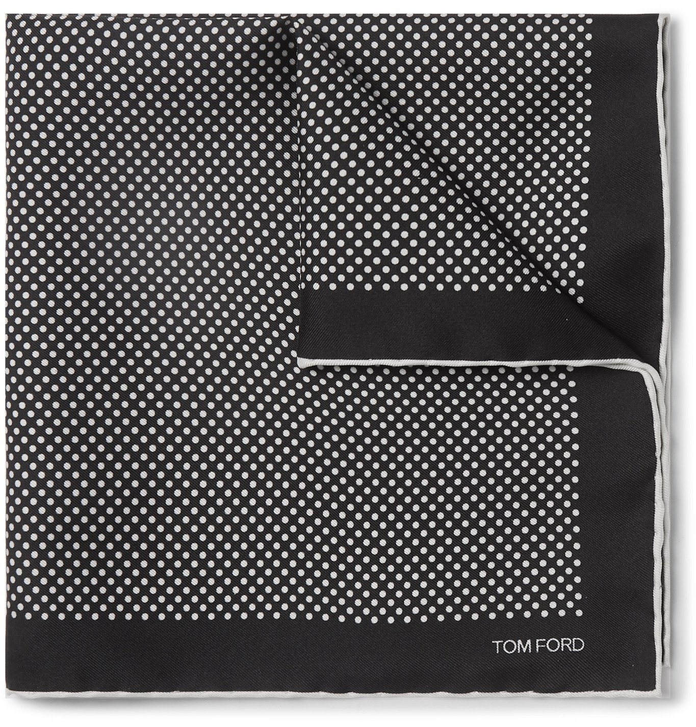Photo: TOM FORD - Polka-Dot Silk Pocket Square - Black
