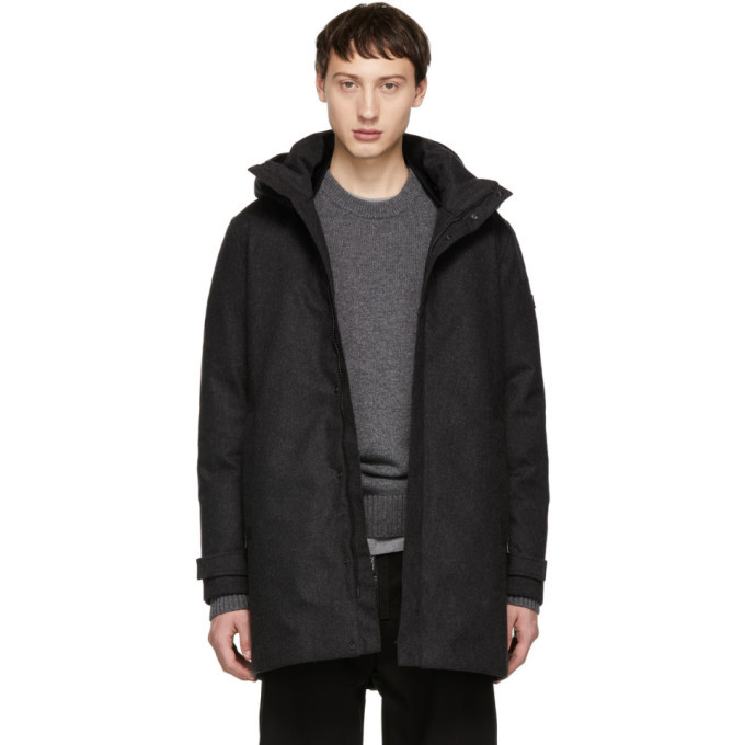 Photo: Woolrich John Rich and Bros Grey Down Tech Wool Coat