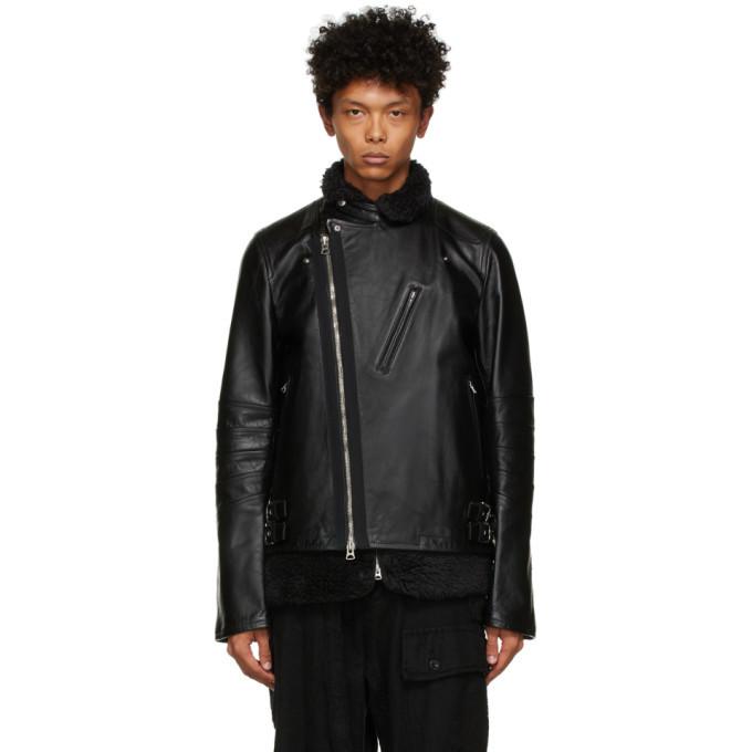 Sacai Black Leather and Shearling Jacket