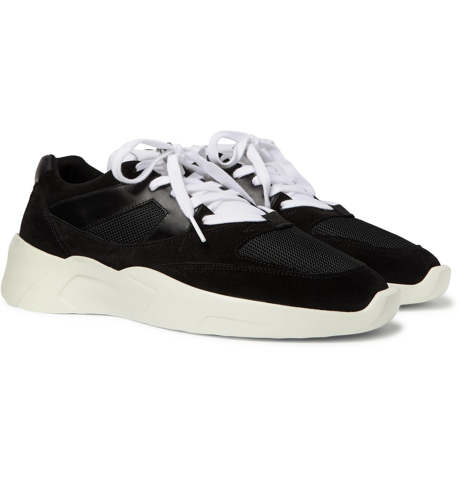 Photo: Fear of God Essentials - Leather-Trimmed Suede and Mesh Sneakers - Black