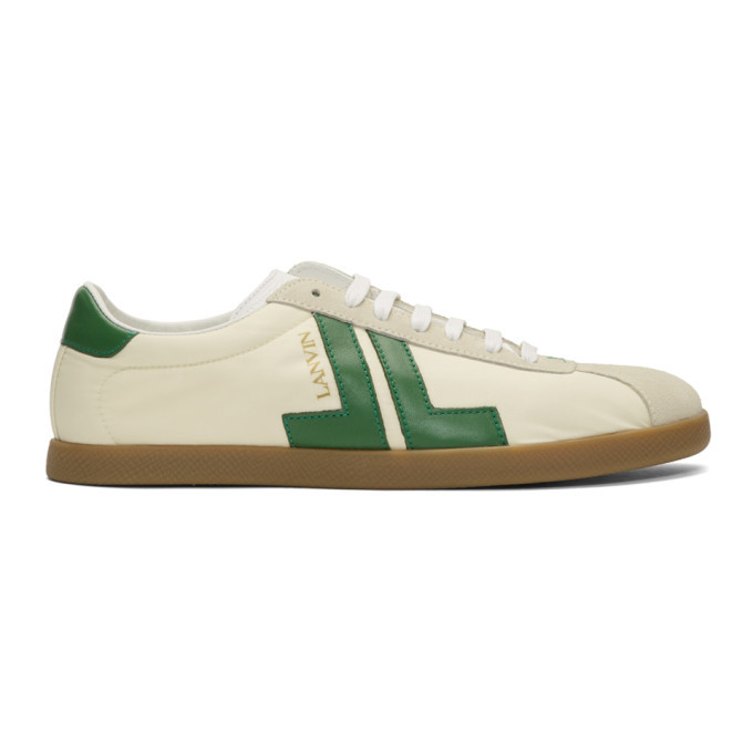 Photo: Lanvin Off-White and Green JL Sneakers