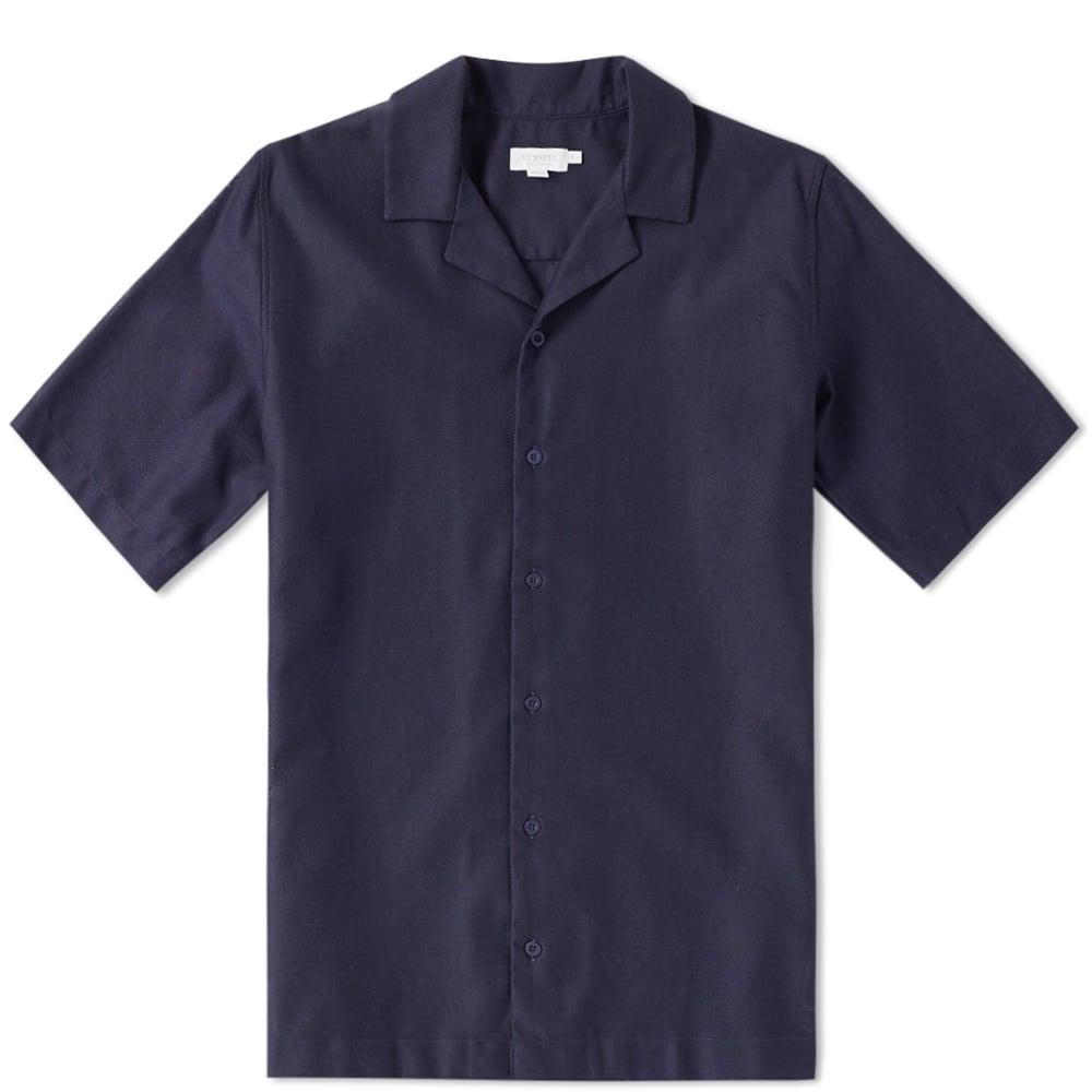 Sunspel Cotton Camp Collar Short Sleeve Shirt Blue