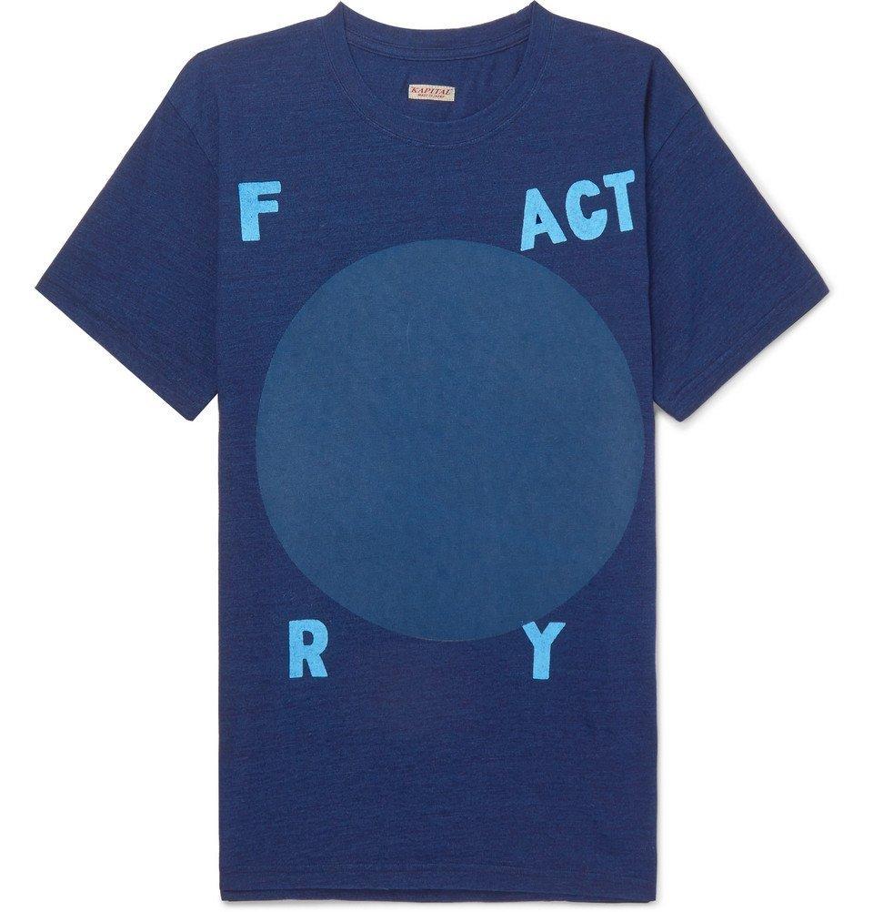 KAPITAL - Printed Cotton-Jersey T-Shirt - Men - Navy