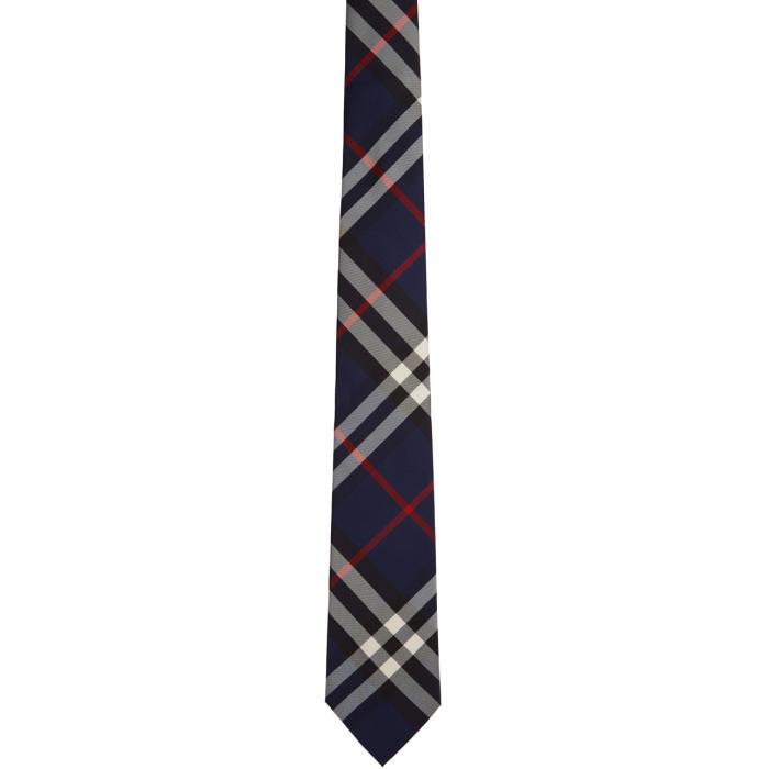 Photo: Burberry Navy Silk Classic Check Tie