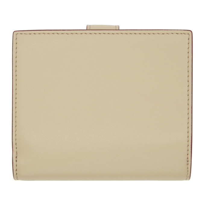 Beige and Pink Single Stud Compact Wallet Fendi VEbXhq7DZ
