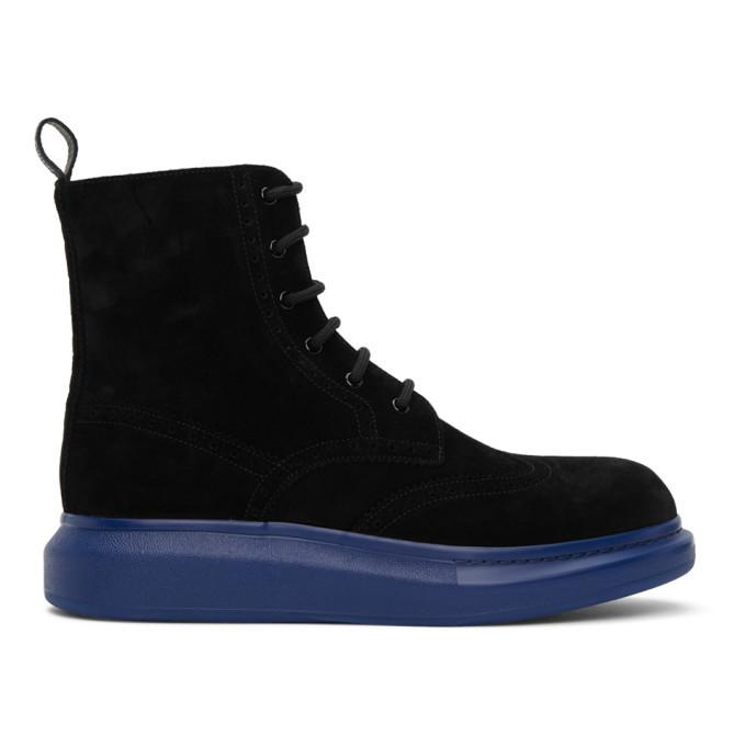 Photo: Alexander McQueen SSENSE Exclusive Black and Blue Hybrid Brogue Boots