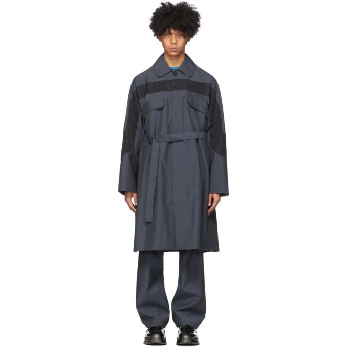 Photo: Kiko Kostadinov Grey and Black Wool Louisville Long Belted Coat