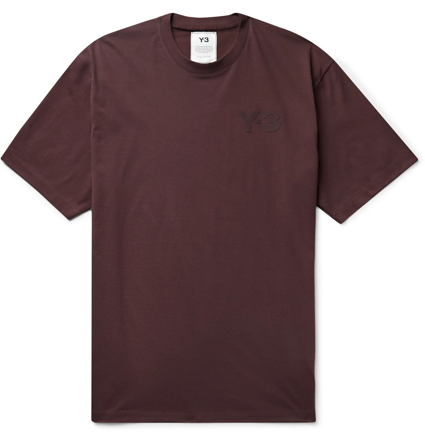 Photo: Y-3 - Logo-Print Cotton-Jersey T-Shirt - Burgundy