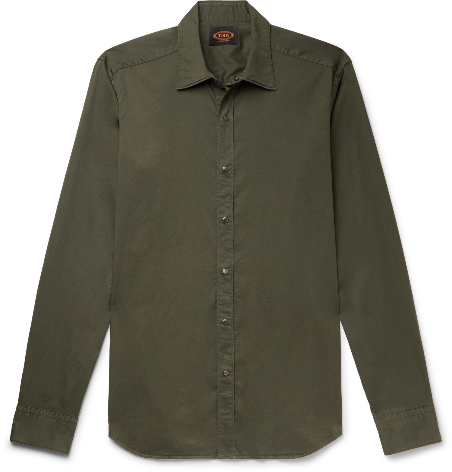 Photo: Tod's - Slim-Fit Garment-Dyed Cotton-Blend Twill Shirt - Green