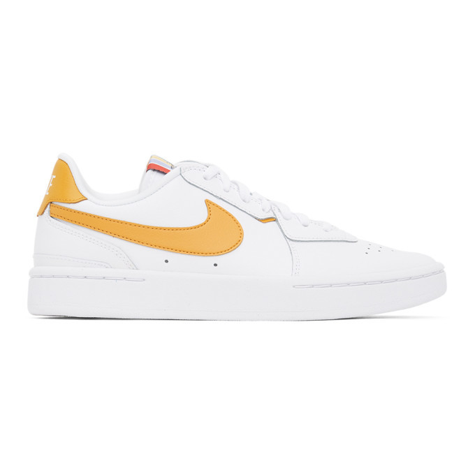 Photo: Nike White and Yellow Leather Court Blanc Sneakers