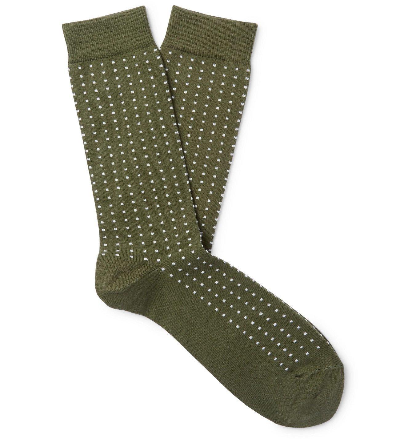 Photo: Sunspel - Birdseye Cotton-Blend Socks - Green