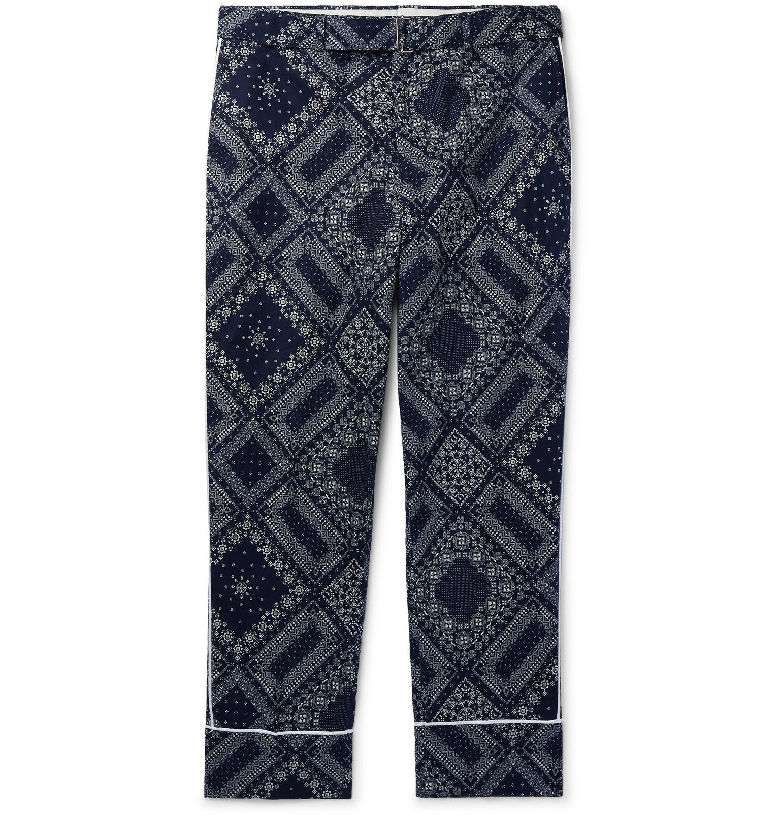 Photo: Officine Generale - Lucio Wide-Leg Belted Bandana-Print Cotton Trousers - Blue