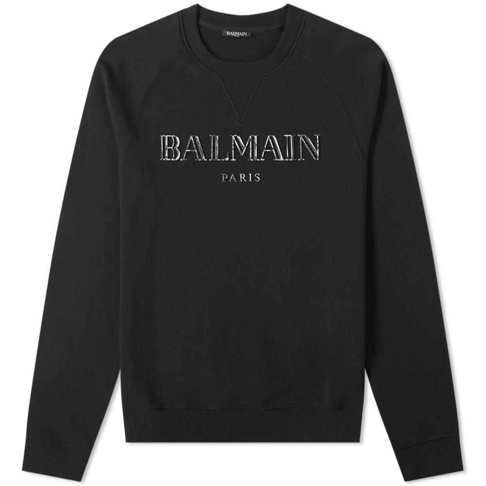 Photo: Balmain Metalic Paris Logo Crew Sweat