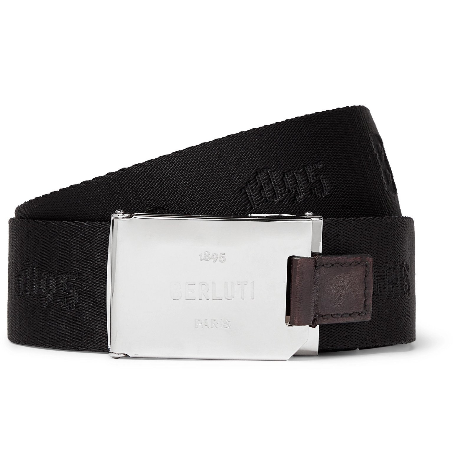 Photo: Berluti - Leather-Trimmed Webbing-Jacquard Belt - Black