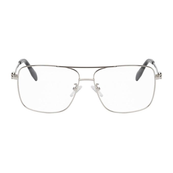 Photo: Alexander McQueen Silver Metal Square Glasses