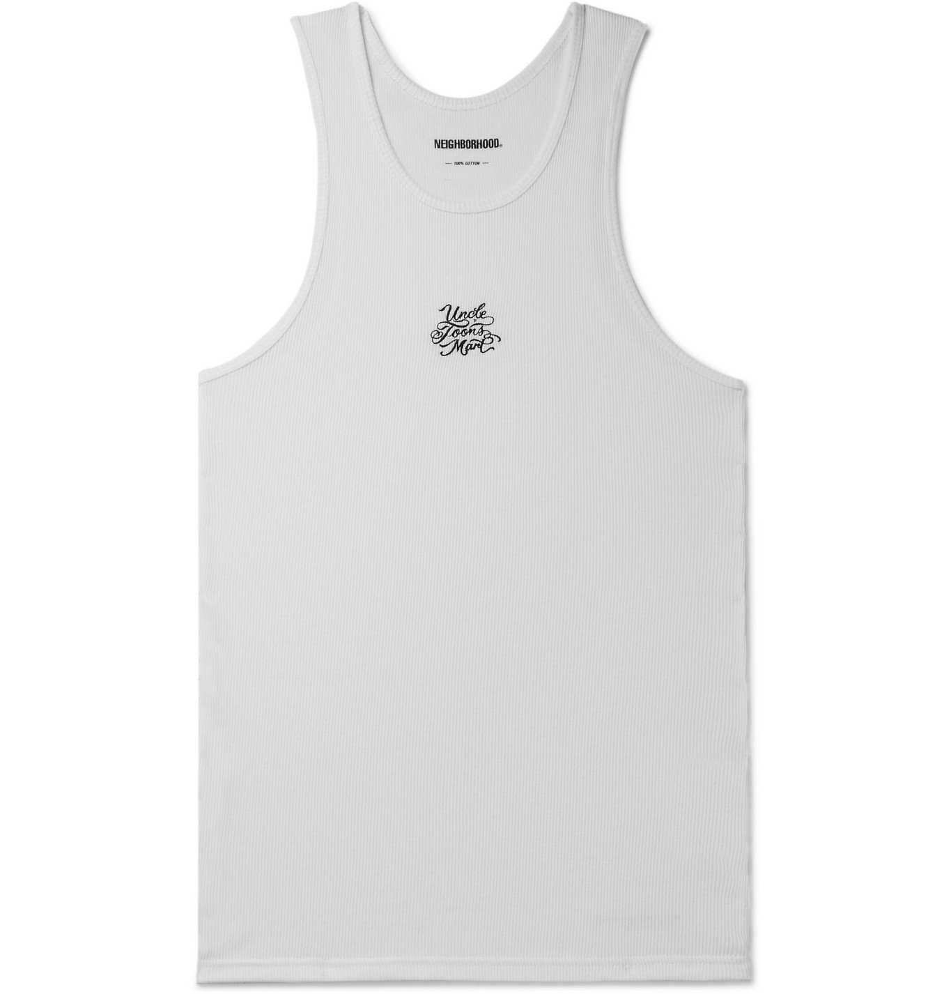 Photo: Neighborhood - Mr Cartoon Two-Pack Embroidered Ribbed Cotton-Jersey Tank Tops - White