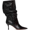Amina Muaddi Black Croc Ida Heels