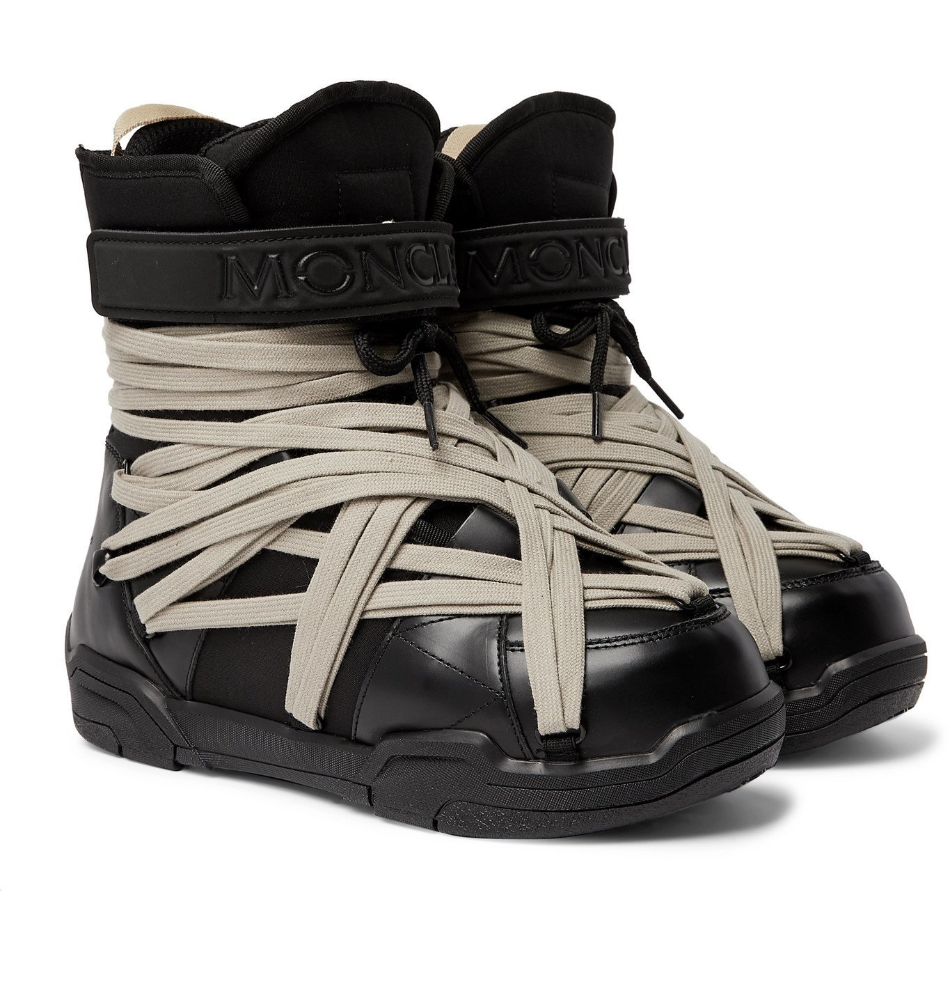 Photo: Rick Owens - Moncler Amber Canvas-Trimmed Leather Snow Boots - Black