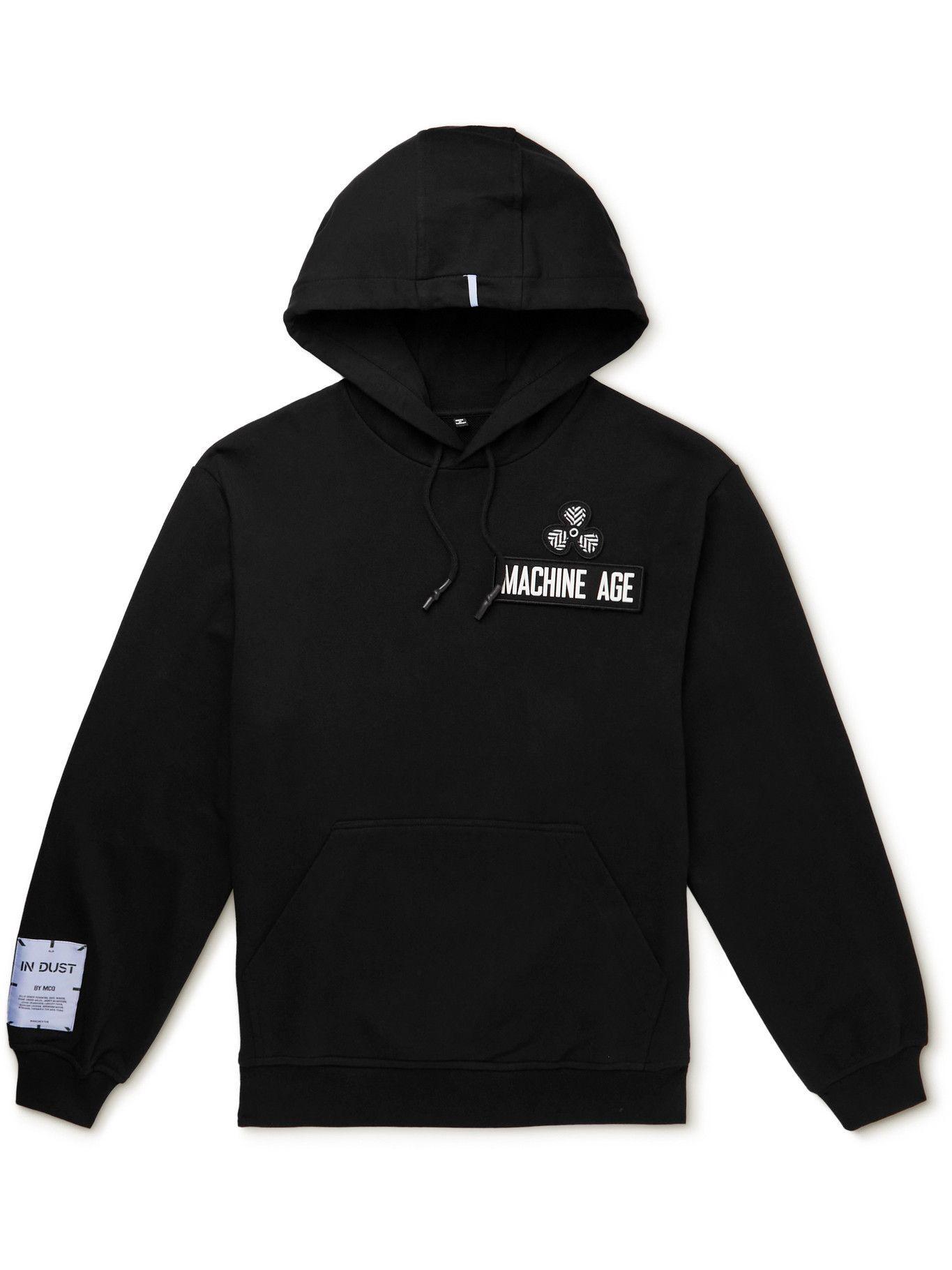 MCQ - In Dust Appliquéd Cotton-Jersey Hoodie - Black