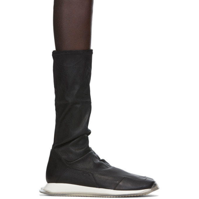Photo: Rick Owens Black Stretch Oblique Runner Sneakers