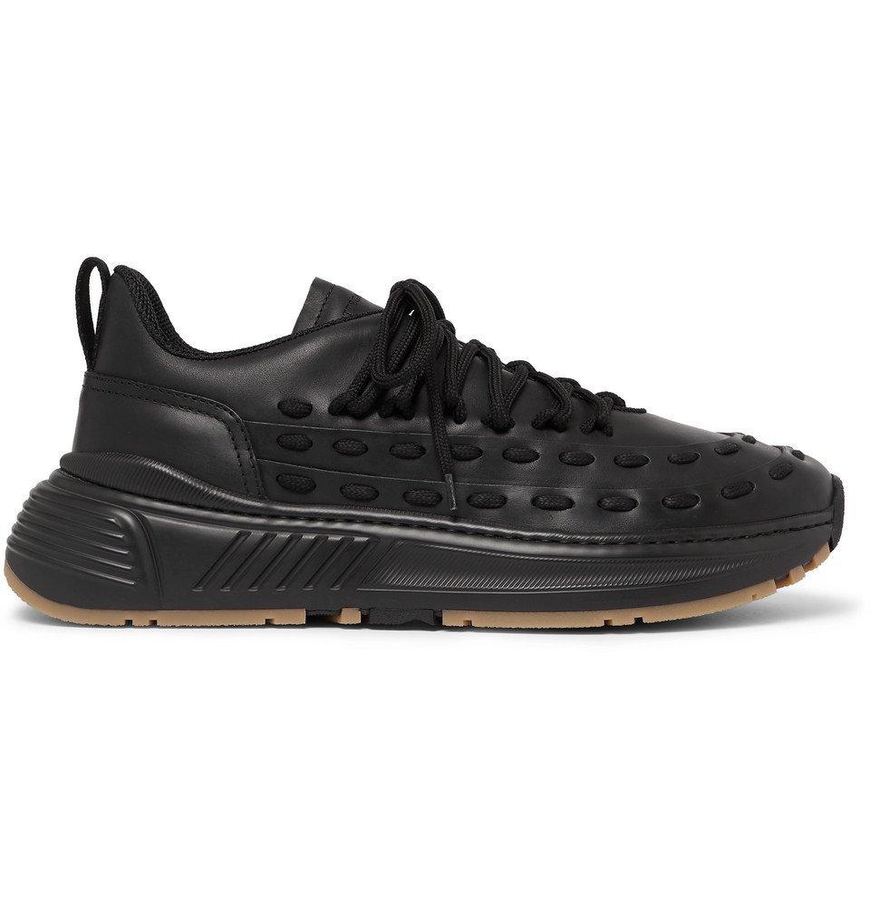 Bottega Veneta - Canvas-Trimmed Leather Sneakers - Black