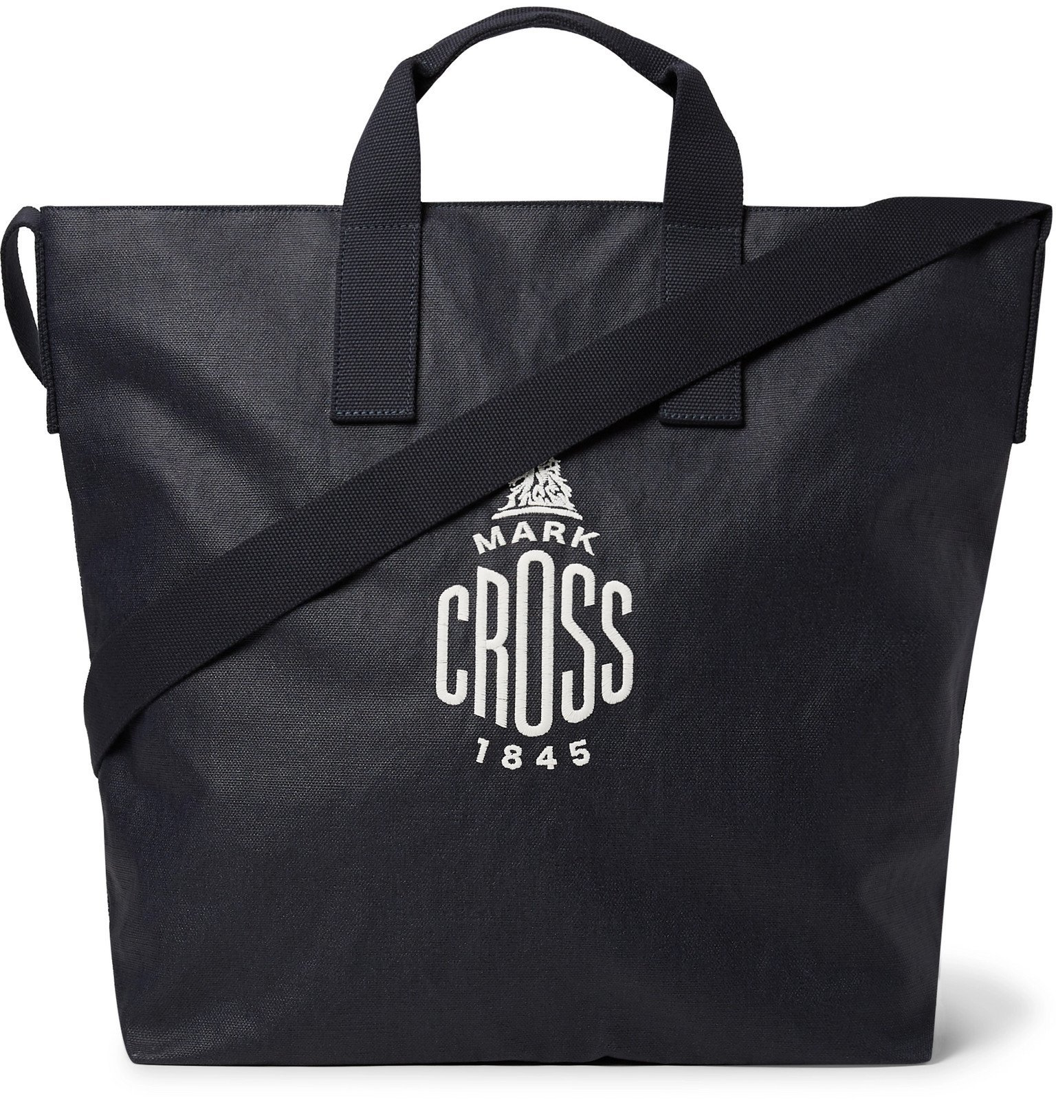 Photo: Mark Cross - Weatherbird Logo-Embroidered Coated-Canvas Tote - Blue