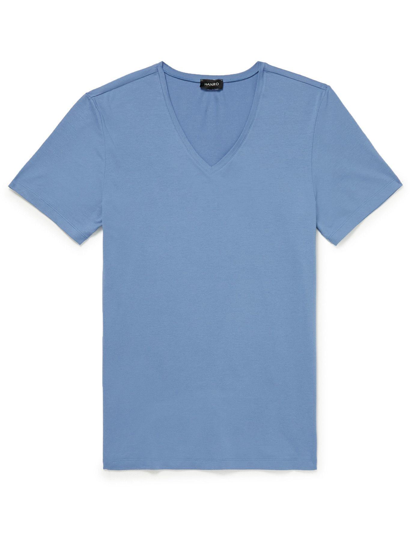 Photo: HANRO - Stretch-Cotton Jersey T-Shirt - Blue