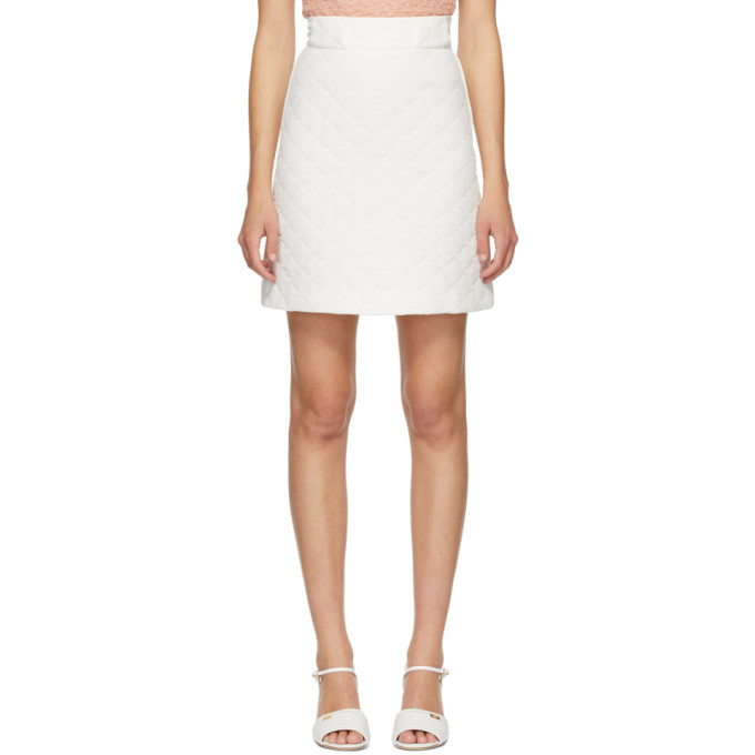Photo: Fendi White Quilted Crepe De Chine Skirt
