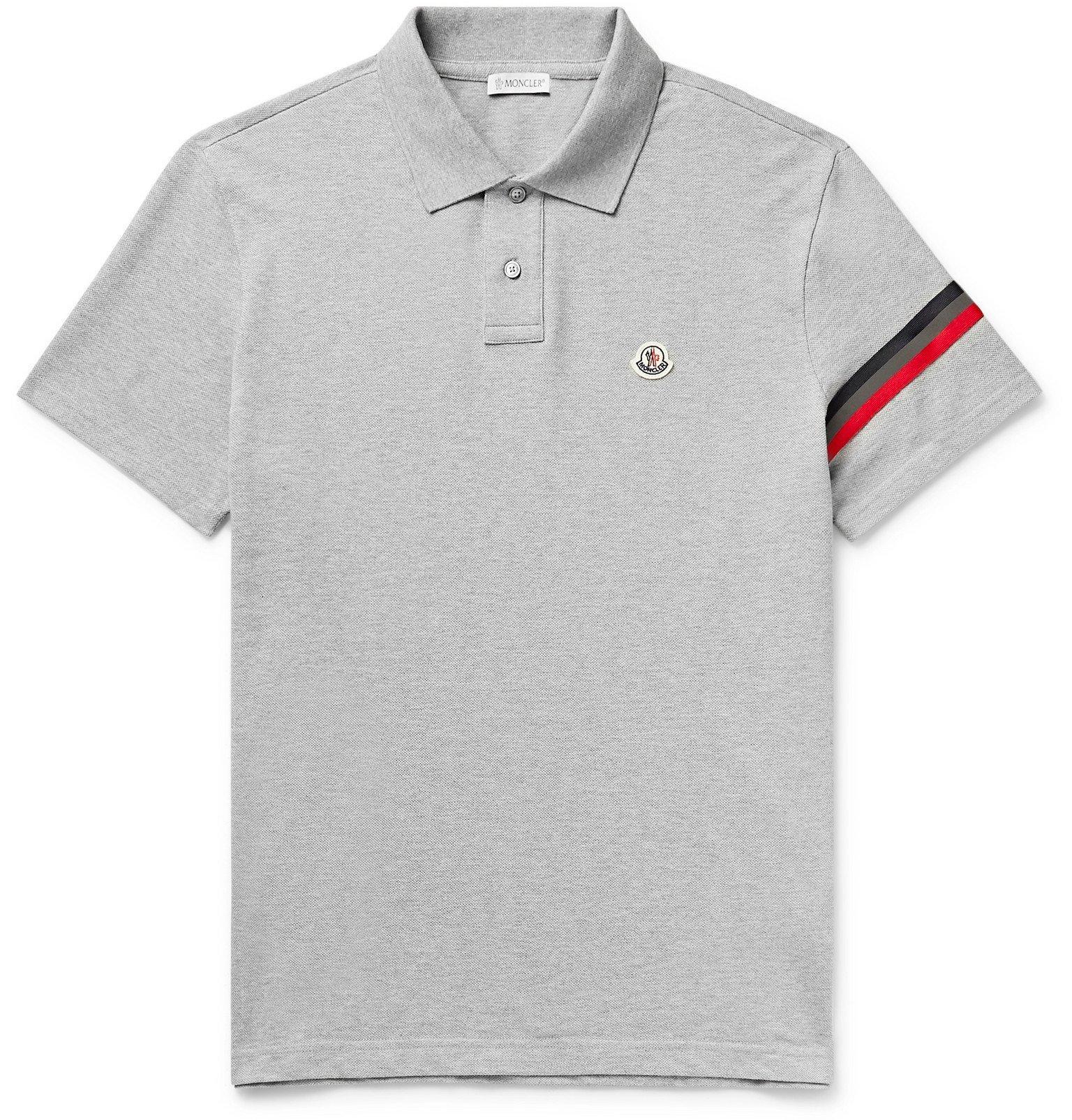 Moncler - Logo-Appliquéd Webbing-Trimmed Cotton-Piqué Polo Shirt - Gray