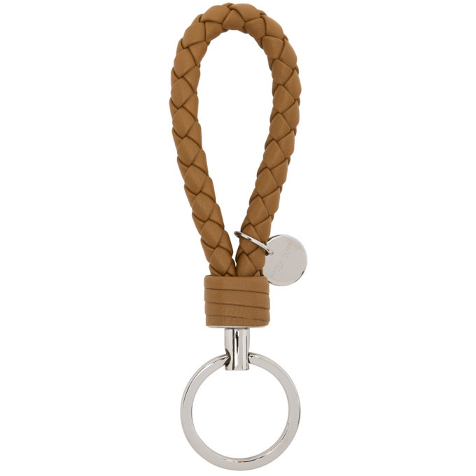 Photo: Bottega Veneta Brown Intrecciato Loop Keychain
