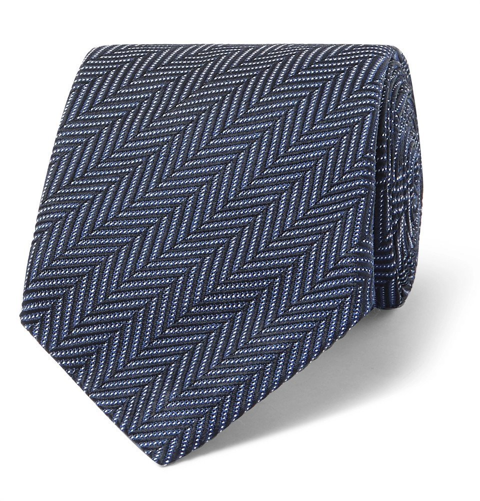 Photo: TOM FORD - 8cm Herringbone Woven Silk and Cotton-Blend Tie - Navy