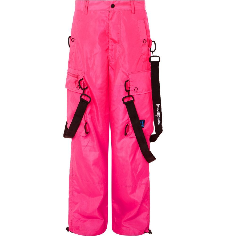 Photo: Off-White - Wide-Leg Logo-Detailed Ripstop Cargo Trousers - Pink