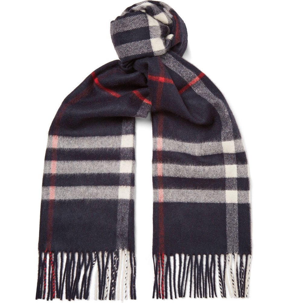 Photo: Burberry - Fringed Checked Cashmere Scarf - Navy