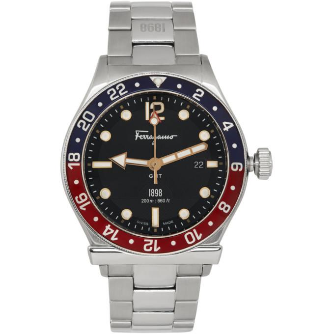 Photo: Salvatore Ferragamo Silver 1898 GMT Watch