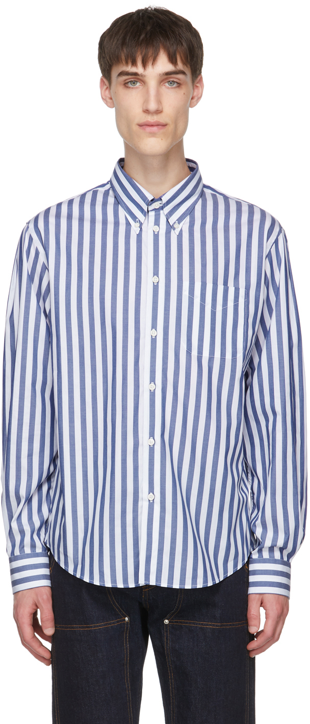 Photo: 4SDESIGNS Blue & White Stripe Classic SP Shirt