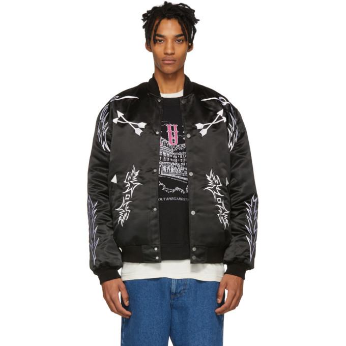 Photo: Rhude Black Embroidered Bomber Jacket