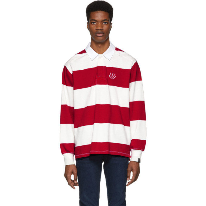 Photo: rag and bone Red and Off-White Striped Rugby Polo