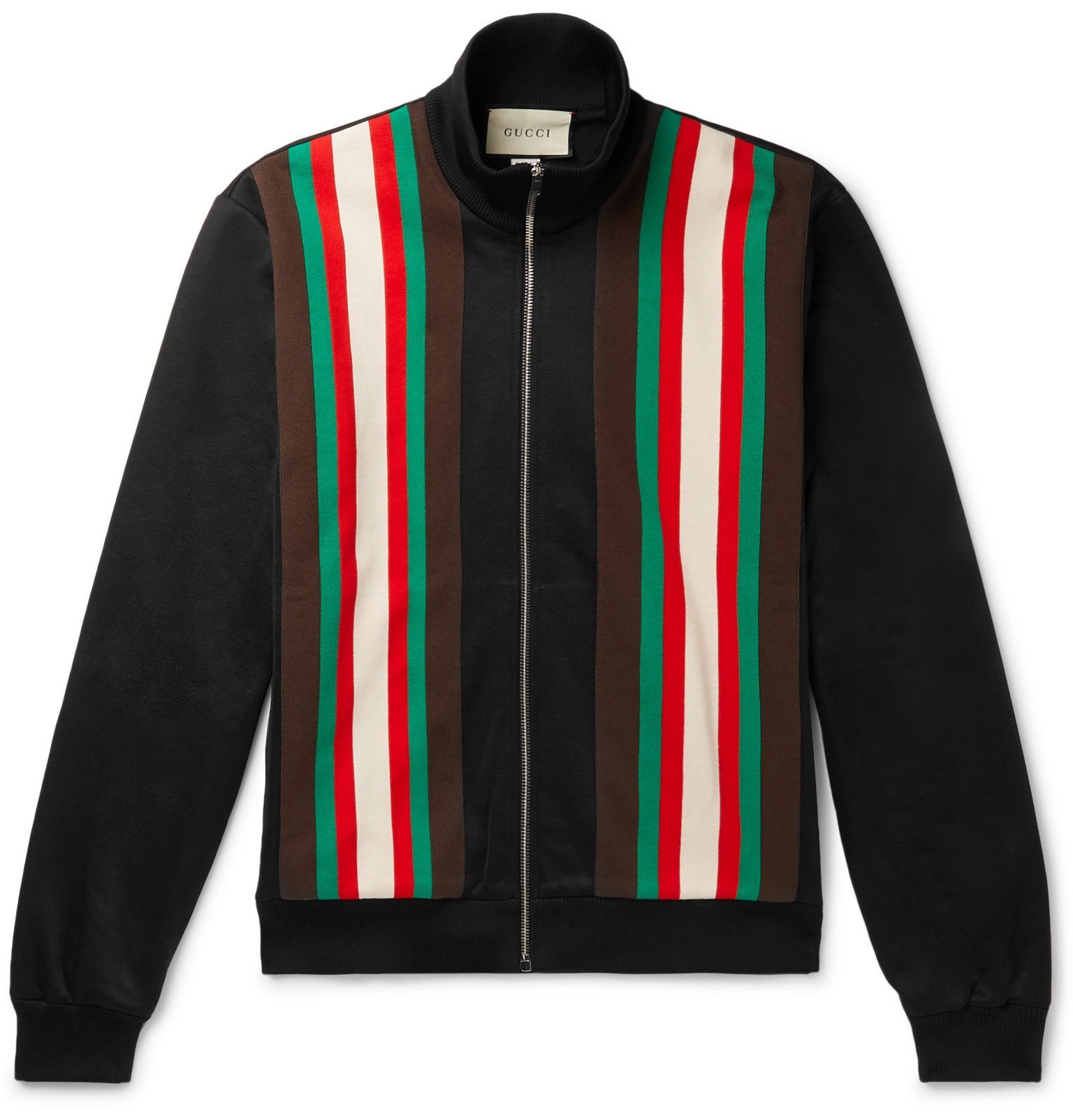 Photo: Gucci - Slim-Fit Webbing-Trimmed Tech-Jersey Track Jacket - Black