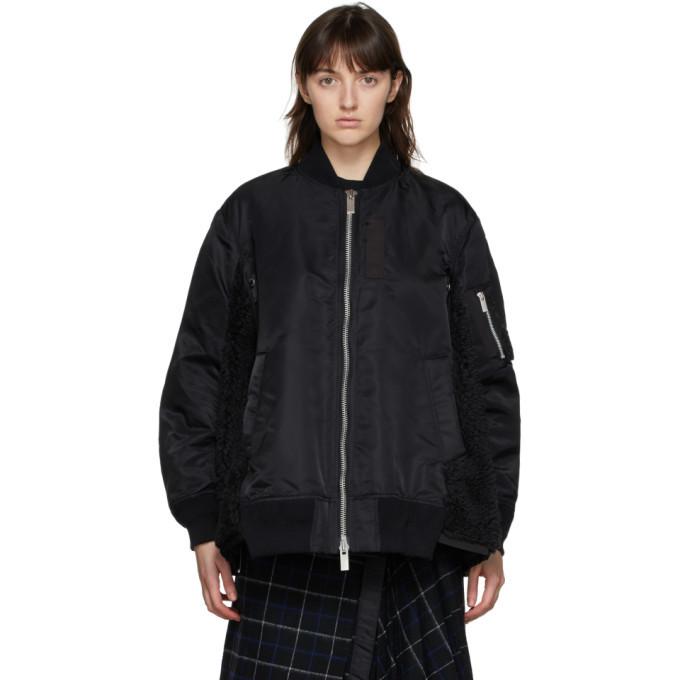 Sacai Black Sherpa Bomber Jacket