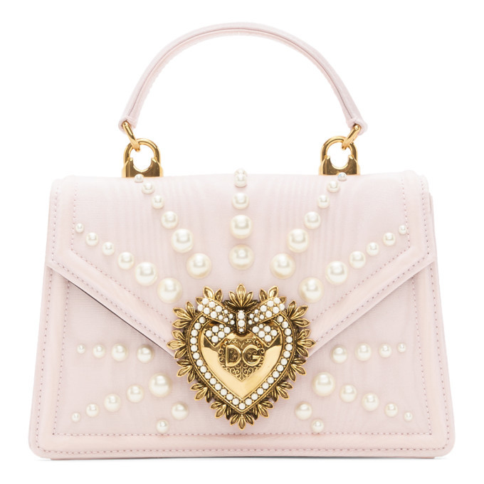 Dolce and Gabbana Pink Small Moire Devotion Bag
